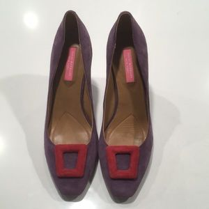 Isaac Mizrahi purple suede heels!  Like new!
